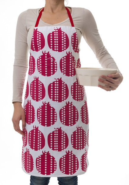 Pomegranates design red apron   Barbara Shaw Gifts