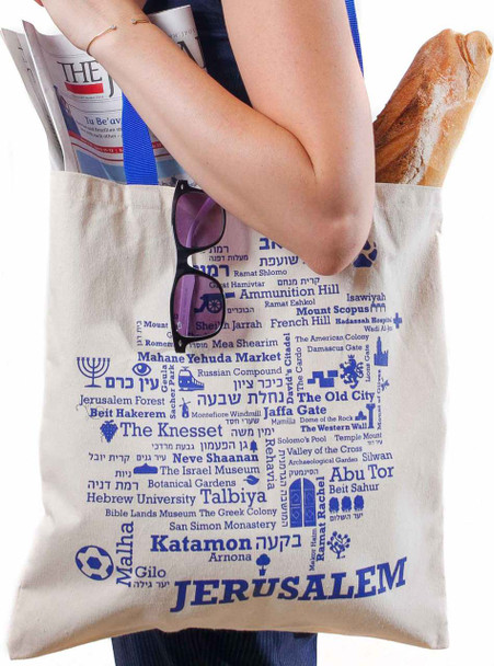 Jerusalem Word-Map Blue Ink - Canvas Tote Bag