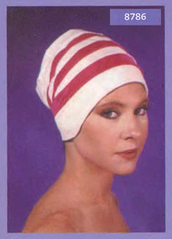 Fashion Swim Turban Cap 3 Stripe