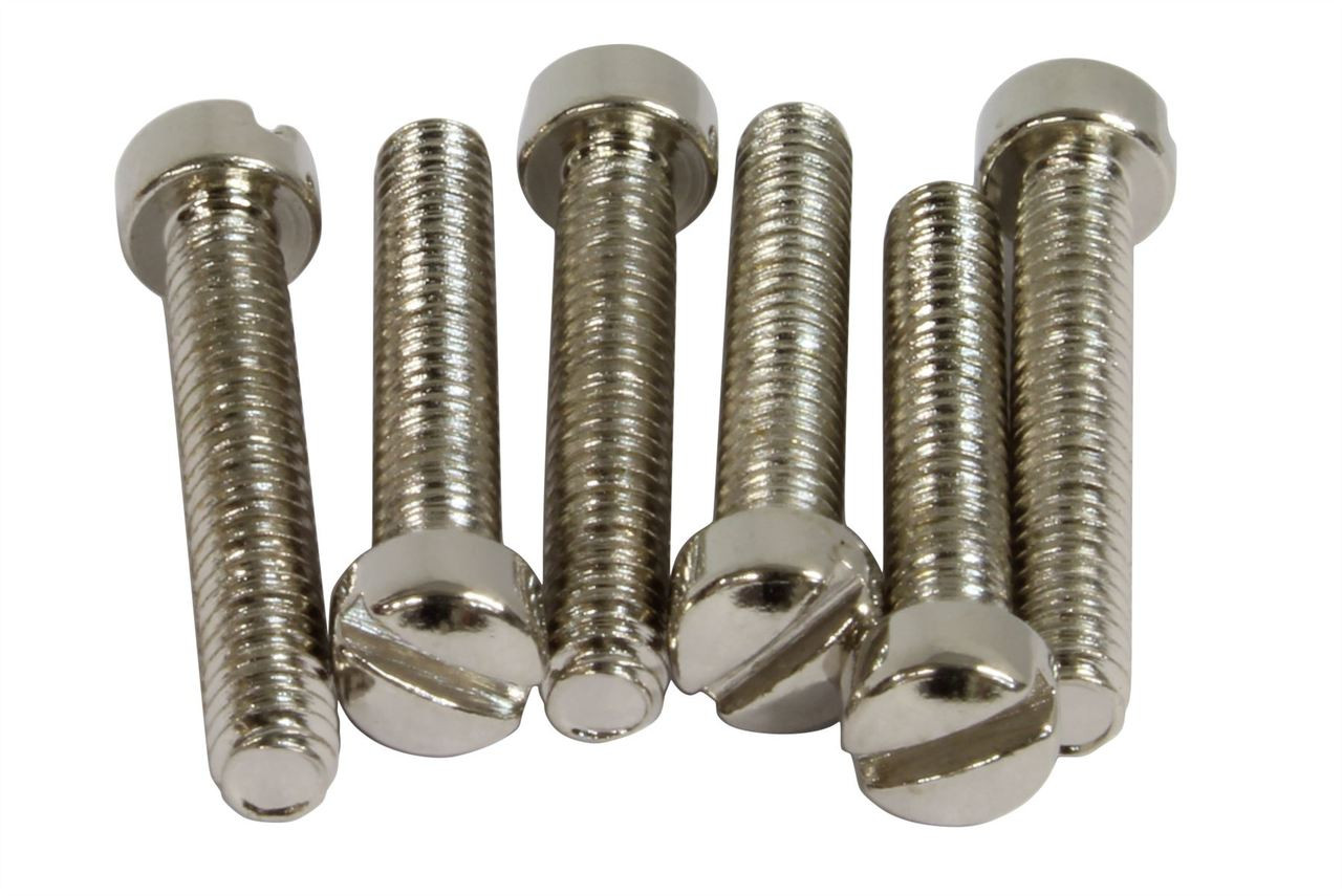 Pickup mounting screws for Strat,Nickel Plated,Qty 6 pieces