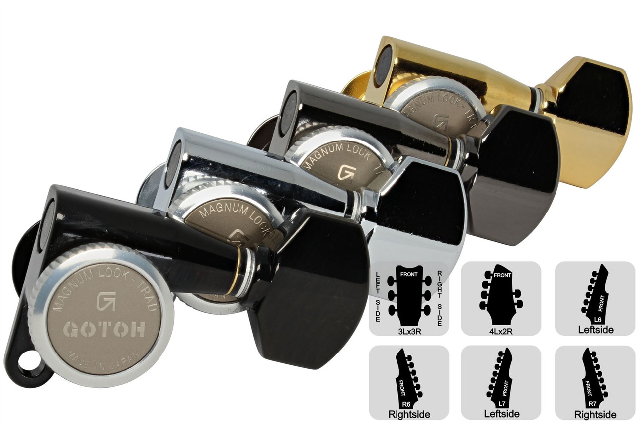 4L x 2R GOTOH SG381-07-MGT Locking Tuners  Small Knobs Cosmo Black