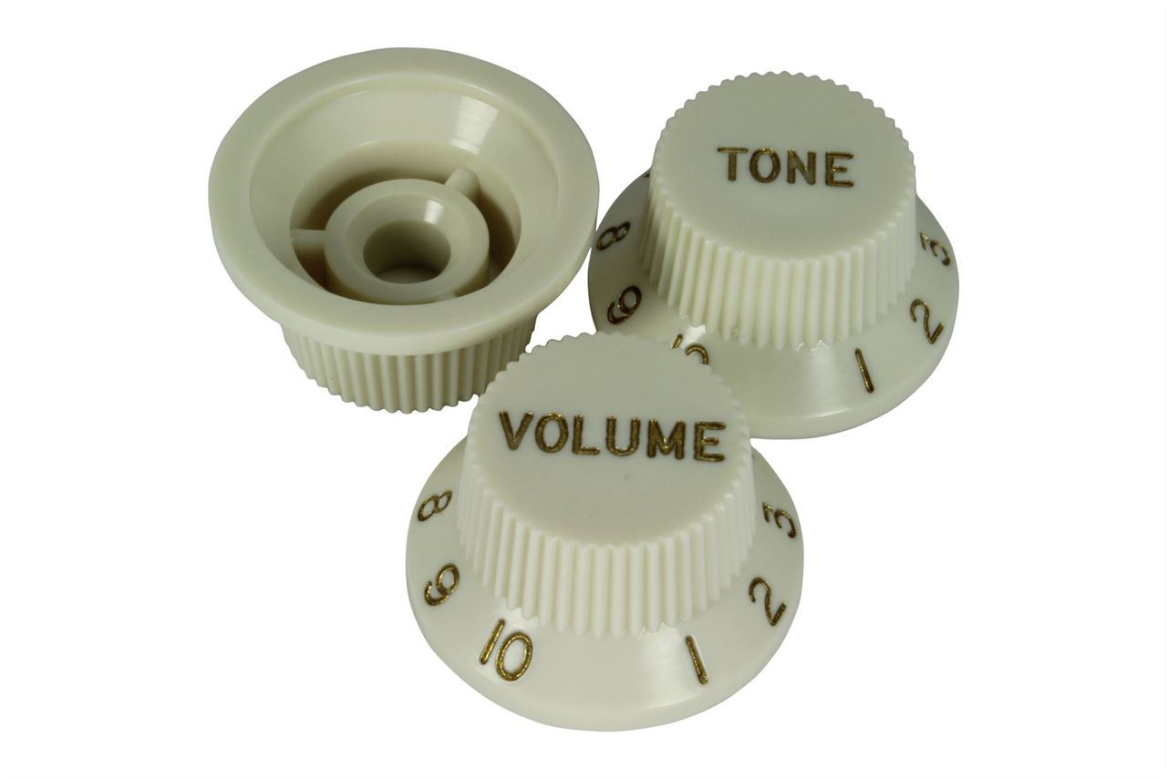 Allparts Knob Set for Strat Parchment  1 Volume 2 Tone Switch and Whammy Bar Tip