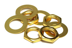 Gold plated nut and dress washer for CTS Pots and Switchcraft Jacks