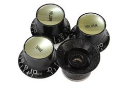 Black reflector knobs with smooth gold reflectors - Coarse spline