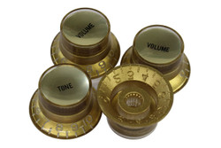 Black reflector knobs with smooth gold reflectors - Coarse spline