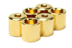 Recessed rear guitar string ferrules for through-body installations.  Gold plated.