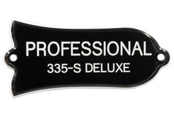 "Engraved ""PROFESSIONAL 335-S DELUXE"" Truss Rod Cover for Gibson Guitars - 2ply B/W"