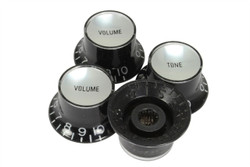 Reflector knobs black with silver reflector - Coarse spline