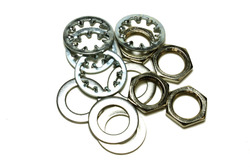 Guitar nut, washer and lock washer for US CTS Pots & Switchcraft Jacks - Nickel