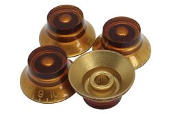 Amber Bell Hat Knobs 4pk for Epiphone® and Import guitars with coarse splines