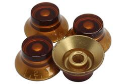 Amber Bell Hat Knobs 4pk for Gibson® guitars with US fine splines