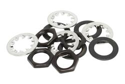 Guitar nut, washer and lock washer for US CTS Pots & Switchcraft Jacks Black