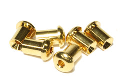 Larger gold plated top mounting guitar string ferrules.