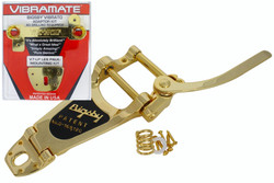 Bigsby B7 with Vibramate V7-LP mounting kit for Les Paul guitars.  Gold