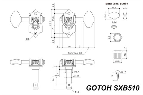 Gotoh Sxb510 06m Open Back Guitar Tuning Machines