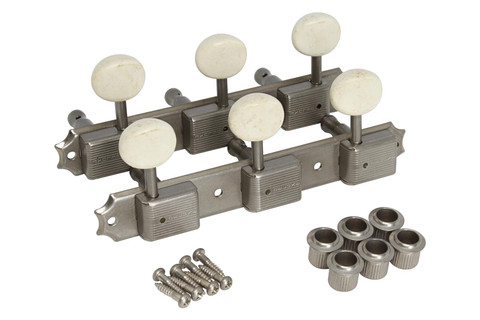 GOTOH 3SD05MA Vintage Deluxe 3-on-plate guitar tuning machines - Aged Nickel