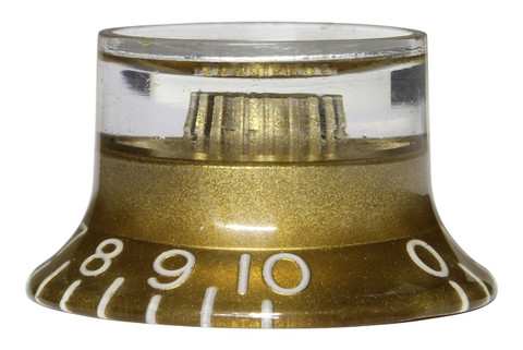 Bell Hat Knobs Gold with Silver Reflector Import Set of 4