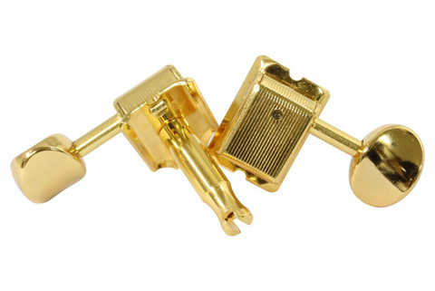 Vintage style GOTOH SD91 tuning machine with split sting post.  Gold with gold buttons.