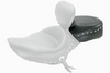 Mustang Wide Recessed Rear Seat for Solos with Driver Backrest for Sportster '04-up -Studded