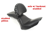 Saddlemen Renegade Heels Down Solo seat for '06-17 Dyna Glide -with Drivers Backrest & Studded Pillion sold separately