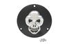 Drag Specialties 3-D Skull Derby Cover  for '70-84 Shovelhead & '84-98 Big Twin -Black w/ Chrome Skull