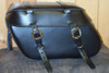 Leather Pro 3200 Series Leather Saddlebags for Harley Softails w/ Stock Exhaust  (NOT for Deuce) -Plain w/ Cargo Straps