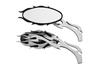 Hard Drive Parts Flame Alloy Mirror w/ Flame Stem Universal Fit -Black & Chrome (Set)