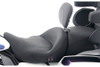 Mustang Seats Heated One-Piece Super Touring Seat with Driver Backrest for Touring Models 2008-Up -Black Pearl Studded (Vintage Shown)