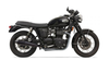 Bassani Exhaust 4-inch Slip On Performance Mufflers for '01-15 Bonneville T100 -Black Coated Cone Shaped, Tapered End Caps w/ Contrasting Flutes