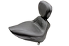 Mustang Sport Solo Seat with Driver Backrest  for Softail FXST '06-Up & Fat Boy FLSTF '07-Up w/ 200mm Wide Tire -Plain/Vintage