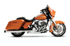 """Rinehart Racing Slimline Duals Exhaust System for '09-16 Touring Models -3.5"""" Mufflers Chrome w/ Chrome End Caps (Shown with Black End Caps)"""