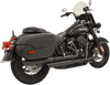Bassani Black Staggered Dual Exhaust System for 18-Up Harley Davidson Softail Deluxe and Heritage