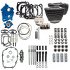 S&S Cycle Big Bore Kit Power Package 124 inch CI Oil Cooled with Highlighted Fins for 107 inch Harley-Davidson M8 - Chain Drive Cam - Gloss Black Pushrod Tubes