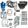 S&S Cycle Big Bore Kit Power Package 124 inch CI Oil Cooled with Highlighted Fins, Gear Drive Cam for 107 inch Harley-Davidson M8 - Chrome Pushrod Tubes