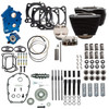 S&S Cycle Big Bore Kit Cycle Power Package 124 inch CI Oil Cooled with Non Highlighted Fins, Gear Drive Cam for 107 inch Harley Davidson M8 - Gloss Black Pushrod Tubes