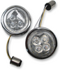 Ciro Fang White Halo Front Signal Light Inserts with Chrome or Black Bezel for Harley Davidson