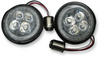 Ciro Fang White Halo Rear Signal Light Inserts with Chrome or Black Bezel for Harley Davidson