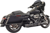 Bassani Short Road Rage 2 into 1 Exhaust for '17-Up Harley Davidson Touring - Chrome or Black