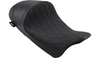 Drag Specialties EZ-ON Mount Lo Profile Solo Seat with Forward Positioning for '08-Up Harley Davidson Touring - Solar Reflective Leather Double Diamond Black Thread