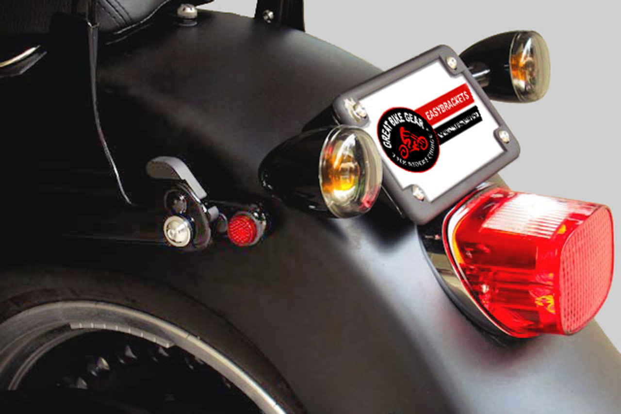 Easy Brackets Turn Signal Relocation Kit & Lay Down License Plate Mount for  Softail & Sportster Models '01-Earlier-Black Powder Coat