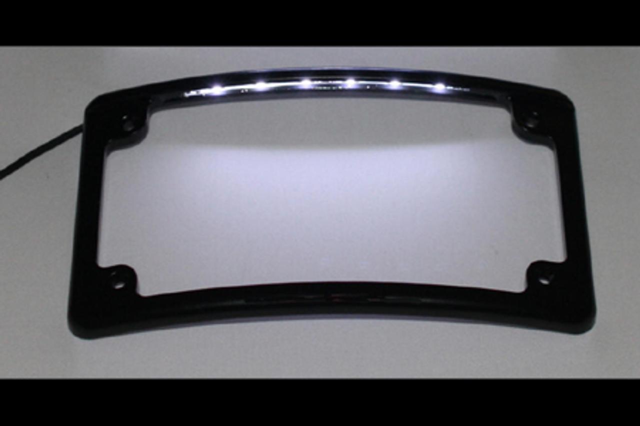 Custom Dynamics Chrome Low Profile Radius License Plate Frame L.E.D 4 Harley