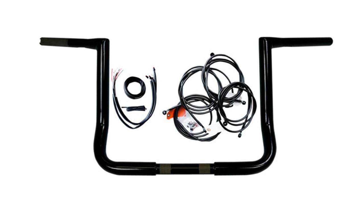 L A  Choppers 12 inch Ape Hanger Handlebar Kit for '16 Harley Davidson  FLHT, FLHX w/ ABS - Black