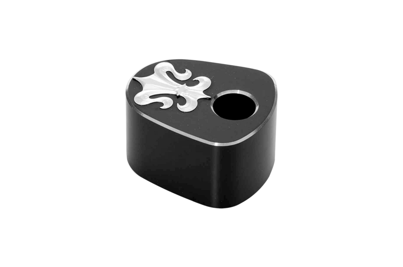 Precision Billet Ignition Switch Cover for Harley Davidson Touring 2008-Up  (w/ Batwing Fairing) -Fleur Edition -Black