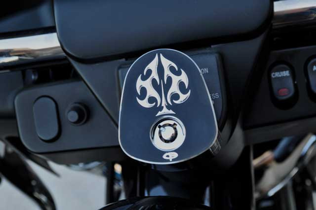 Precision Billet Ignition Switch Cover for Harley Davidson Touring 2008-Up  (w/ Batwing Fairing) -Ace's Wild Edition -Black
