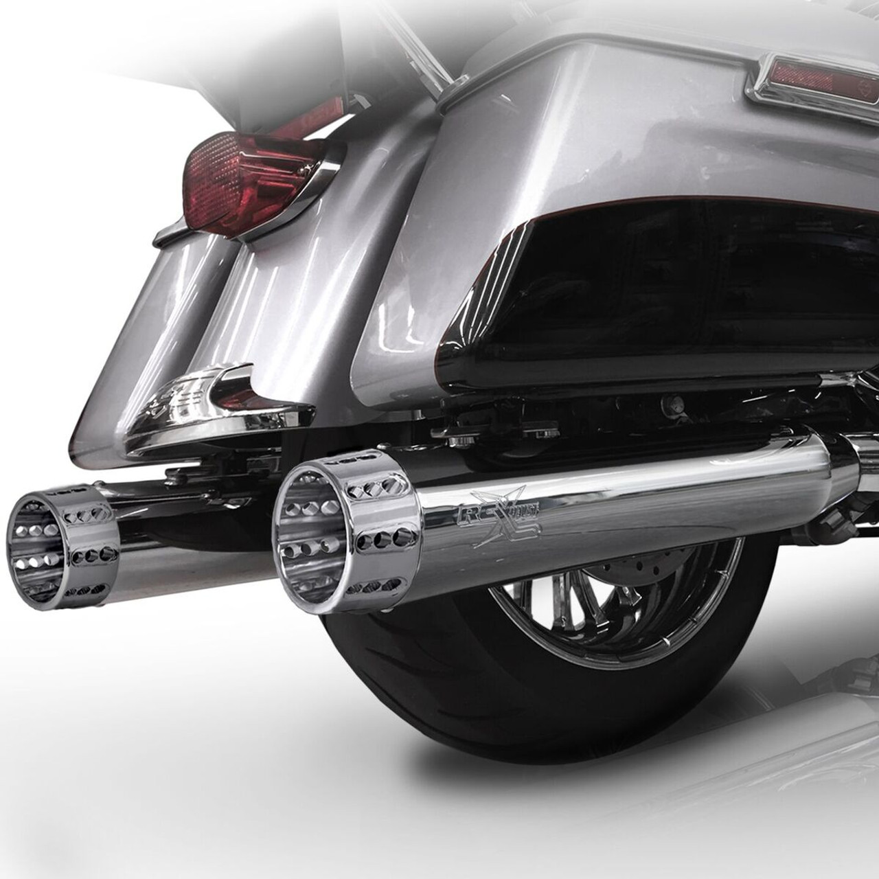 RCX 4 5 inch Slip On Mufflers for Harley Davidson Touring Models '17-Up -  Chrome (10 Tip Styles To Choose From)