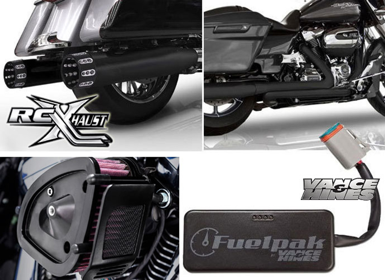 RCX 4 5 inch Stage 1 Power Package for Harley Davidson Touring Models  '17-Up- Black (10 Tip Styles To Choose From)