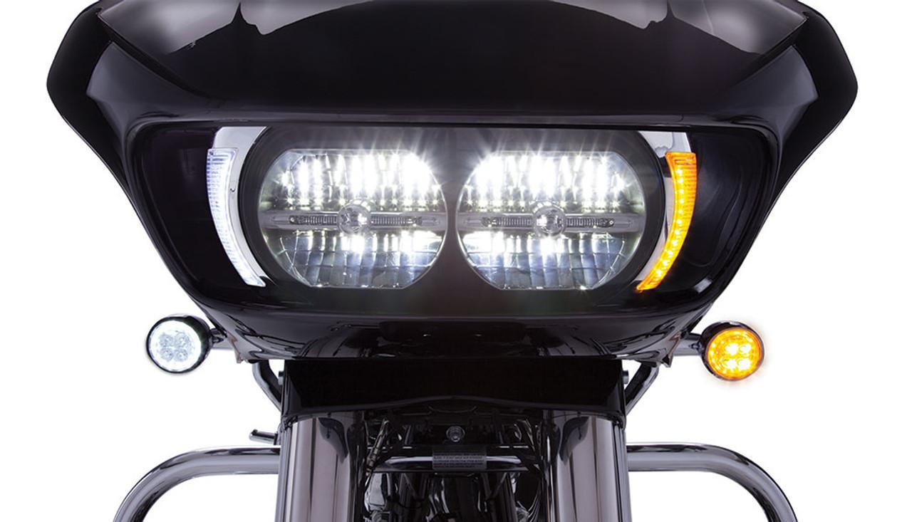 Ciro Fang LED Headlight Bezels for 15-Up Harley Davidson Road Glide Models  (Chrome or Black) Pair