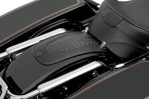Drag Black Leather Rear Fender Skin Bib For Harley Touring 1997-2018