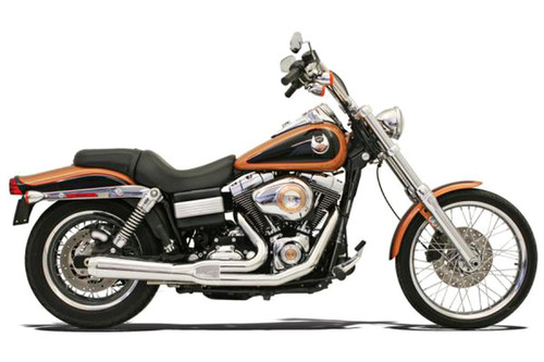 Bassani Road Rage 2-Into-1 System for FXD, FXDWG  '06-17 W/ Forward or Mid Controls Chrome, Short Upswept Meg w/ Heat Shields