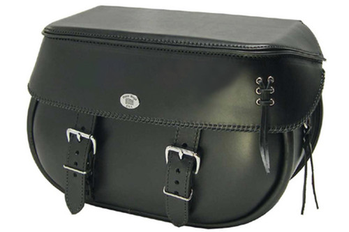 Boss Bags #34 Model Braided Lid Valence with Laced Leather on Lid Corner for Harley Models